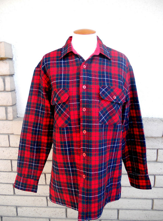 vintage wool flannel shirt jacket red and navy blue plaid