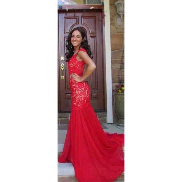 dress prom red lace long mermaid shoulder nude red prom dress