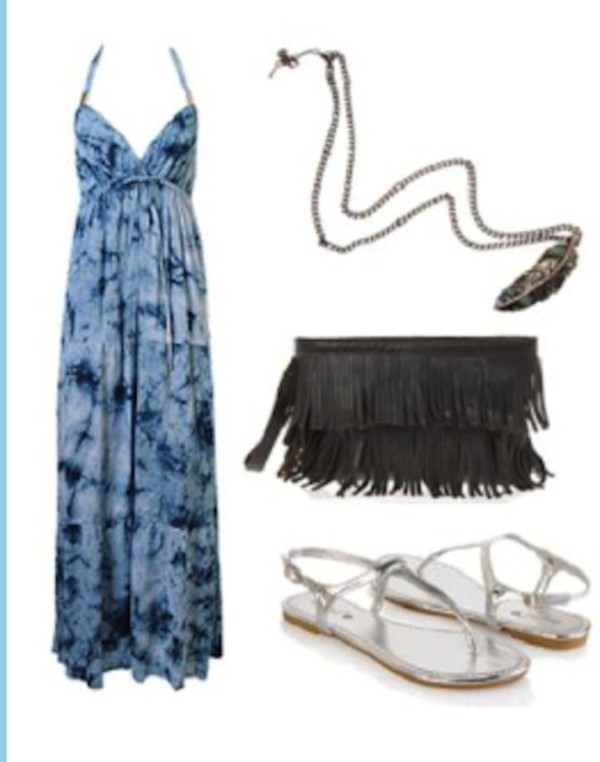 long dress maxi dress tie dye halter neck halter dress empire waist v neck necklace feather necklace feathers feather pendant bag purse frill bag grey bag gray bag sandals Silver sandals clothes outfit jewels