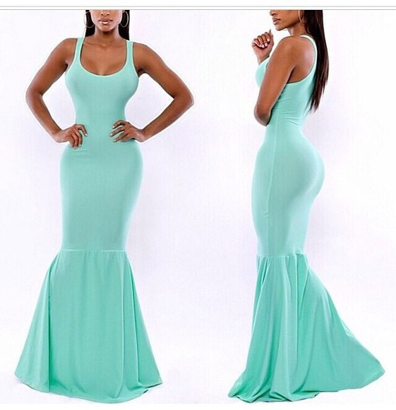 dress mermaid dress long dresses turquoise