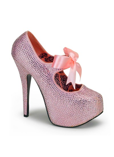 Bordello Pink Rhinestone Burlesque Platform Shoes