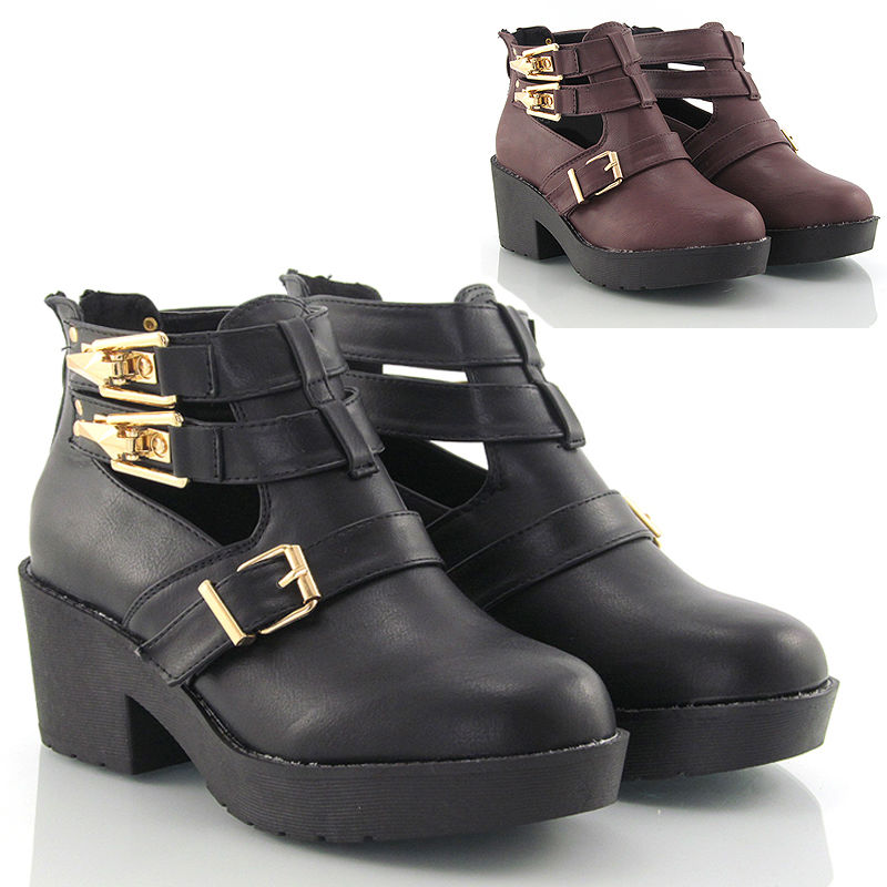 LOW HEEL CUT OUT WOMENS BLOCK CHUNKY HEEL BIKER CHELSEA ANKLE