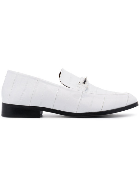 NewbarK women loafers leather white shoes