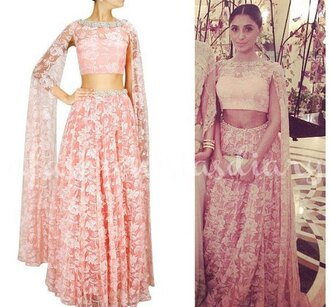dress two-piece open sleeve lace pastel pink prom chiffon hindu shirt hindu indian elephant elegant dress