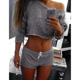 top on point clothing sleepwear sleep pajamas pj's nightwear casual grey crop tops shorts knit lace up crop long sleeve sweater crop top grey shorts women gorgeous fashionista instagram cool girl style vintage clothes