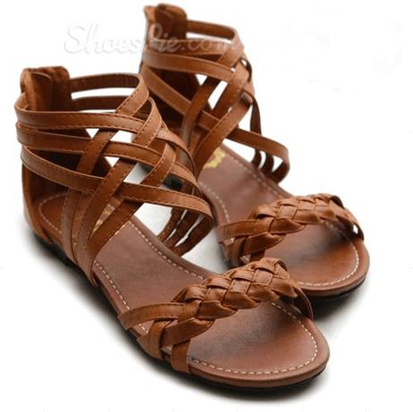 Comforatble Flat Heel Bronw Coppy Leather Sandals