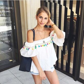 blouse storet cute colorful lovely detail storets off the shoulder