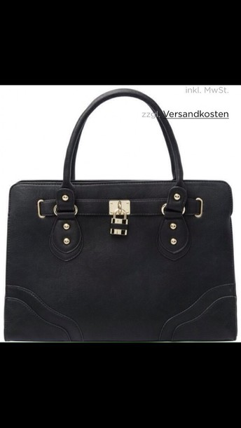 bag black gold handbag leather black bag