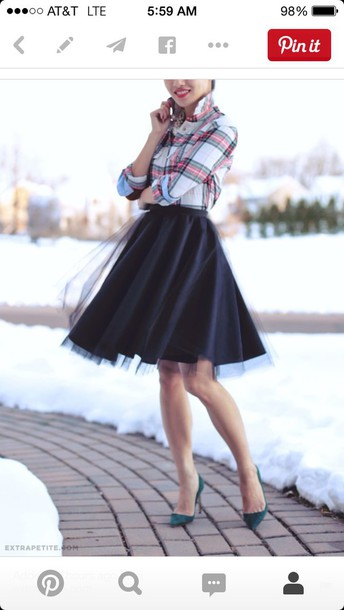 scarf skirt shoes