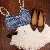 white lace shorts,white crochet shorts,white shorts,summer shorts,denim bustier,daisies top,top