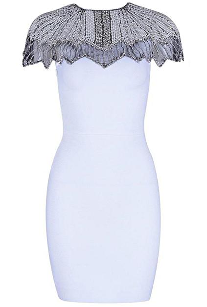 Embellished Detail Bandage Dress White