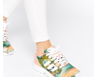 shoes adidas summer flowers pink white