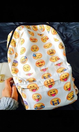 bag emoji print backpack school bag