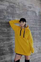 top,tumblr,yellow top,neon yellow,yellow,hoodie,cap,black cap,hat,black hat,over the knee,boots,black boots,skirt,mini skirt,black baseball hat
