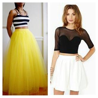 skirt tutu tulle skirt yellow skirt long skirt