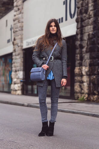 the fashion fraction blogger waist belt grey coat grey jeans
