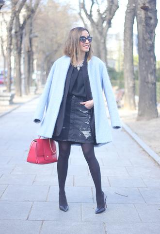 besugarandspice blogger fuzzy coat light blue red bag denim skirt skirt blouse jacket coat bag t-shirt jewels