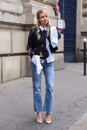 ohh couture,blogger,jewels,shoes,blouse,shorts,jacket,bag,mom jeans,bell sleeves,black bag,mini bag