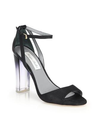 shoes monique lhuillier block heels sandals black sandals high heels block heels