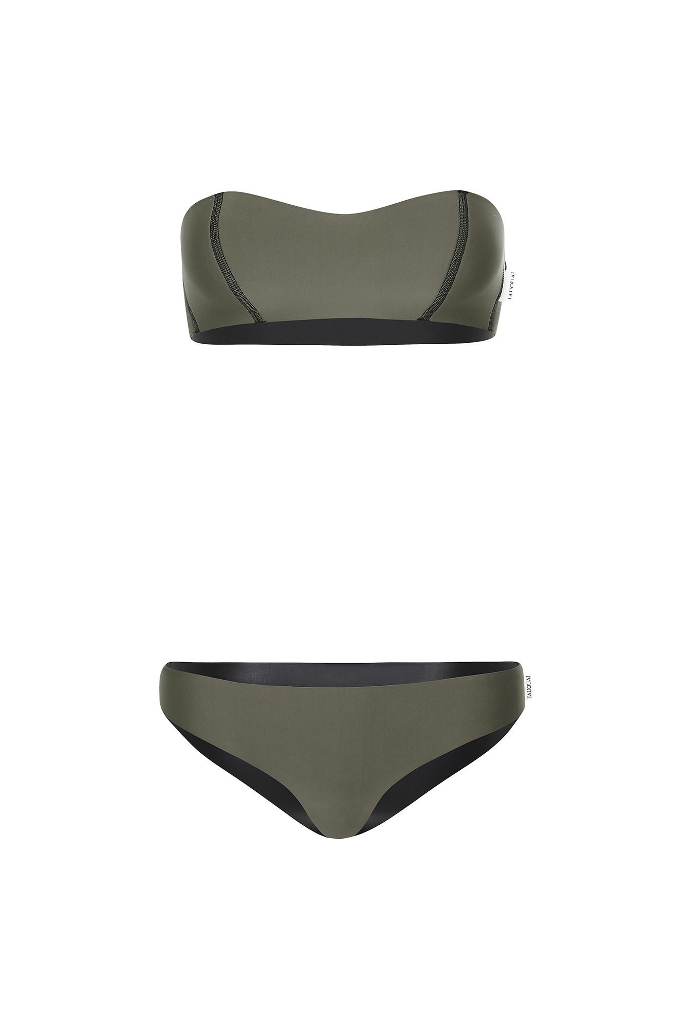 Strapless Bandeau Reversible Neoprene Bikini AUQUA Swimwear