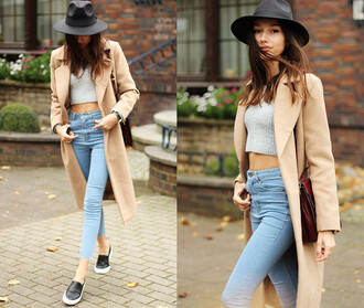 jeans denim coat beige hat crop tops cropped cropped sweater sweater high waisted shorts high waisted jeans sneakers shirt blouse style grunge