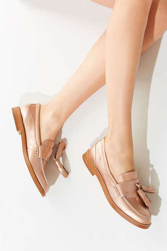 shoes metallic shoes loafers rose gold