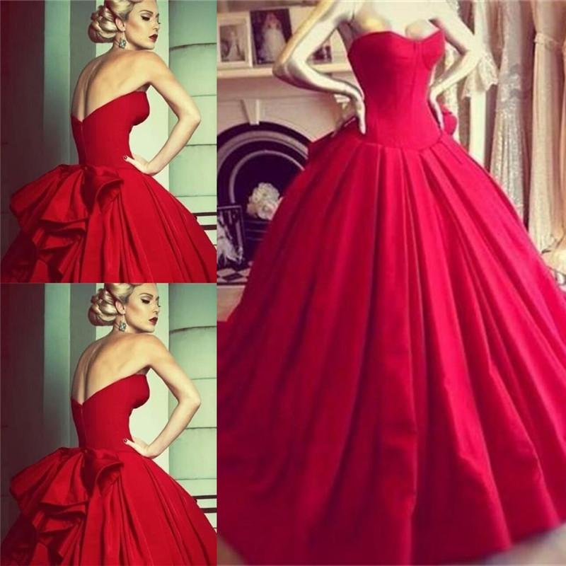 Red Arabic Ball Gown Wedding Dresses Real Images 2015 Sweetheart ...
