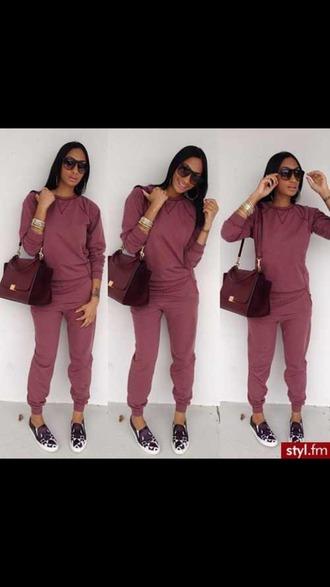 jumpsuit bag burgundy sweater black girls killin it shoes