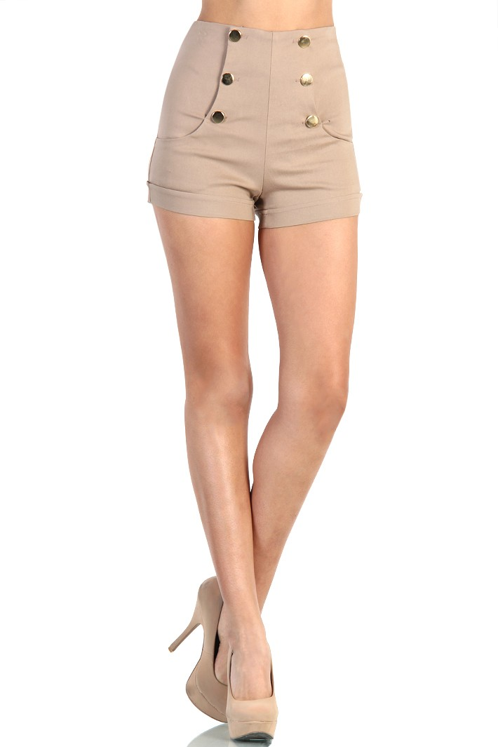 Waist Front Button Shorts - Khaki