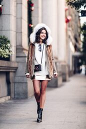 viva luxury,blogger,coat,sweater,skirt,bag,shoes,crossbody bag,fall outfits,winter outfits,mini skirt,gold skirt,patent shoes,ankle boots,hooded winter coat,patent boots,boxed bag