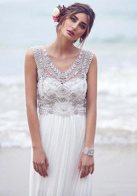 aliexpresscom buy vestido de noiva sexy beach wedding dress 2015 romantic sheer beaded crystals tulle bridal dresses robe de mariage from reliable dress - Aliexpress Mariage