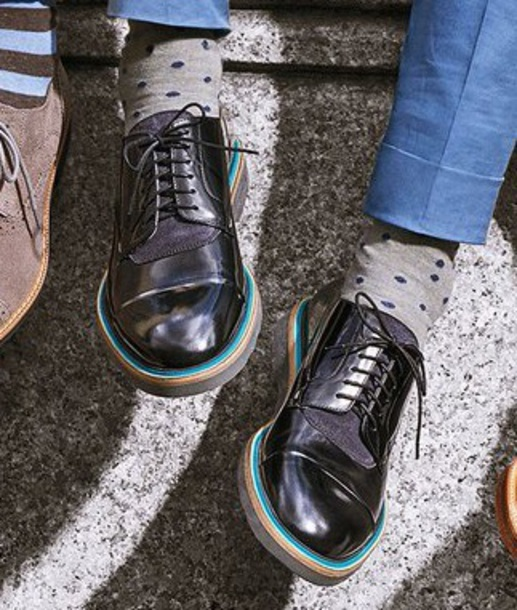shoes black teal oxford