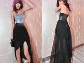 dress,chiffon,black,blue,strapless,denim,strapless dress,flowy dress