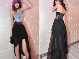dress chiffon black blue strapless denim strapless dress flowy dress