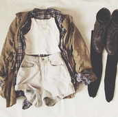 jacket,tank top,shorts,coat,crop tops,flannel shirt,combat boots,white,top,hipster,goth hipster,vans,plaid,plaid shirt,plaid top,grunge,soft grunge,army green jacket,army green,olive green,suede,brown,flannel,jewels,sweater,underwear,shoes,check,shirt,check shirt,denim,knee,socks,black,white top,knee high socks,blouse,skin,tights,nice,high size,vest