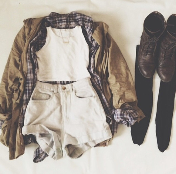 jacket hipster goth hipster vans, floral, indie, hippie, hipster, grunge, shoes, girly, tomboy, skater plaid plaid shirt plaid top grunge soft grunge army jacket army green olive, military, jacket, army style jacket tank top coat white shorts crop tops flannel shirt combat boots