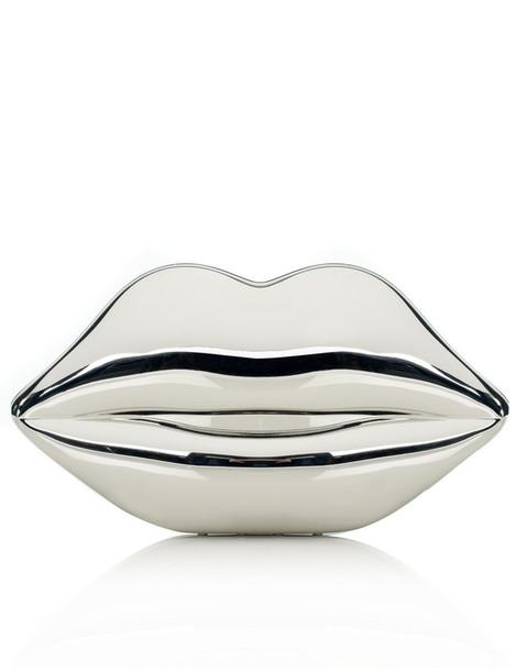 Lulu Guinness lips clutch silver