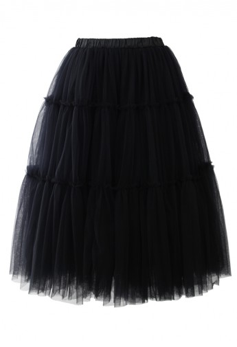Amore Tulle Midi Skirt in Black - Retro, Indie and Unique Fashion