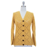 Open knit cardigan sweater v neck button front diamond pattern s m l xl 4 colors