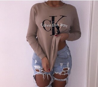 shirt calvin klein nude sweater printed sweater winter sweater fall sweater jeans ripped jeans high waisted jeans skinny jeans blue jeans light blue jeans high waisted taupe crewneck sweatshirt blouse