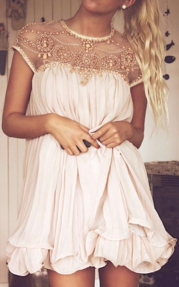 dress beige dress flirty cute casual going out summer outfits blouse beige white flowy lace bejeweled white dress pleated beading beaded short dresses white prom dress mini dress short dress sheer beadings