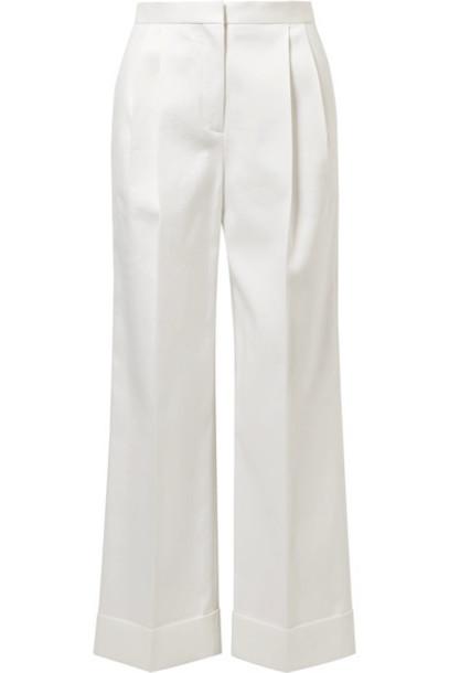 pants wide-leg pants pleated white cotton off-white