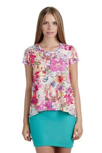 t-shirt printed t-shirt flowers flower print t-shirt floral print t-shirt pink pink t-shirt tiffany blue