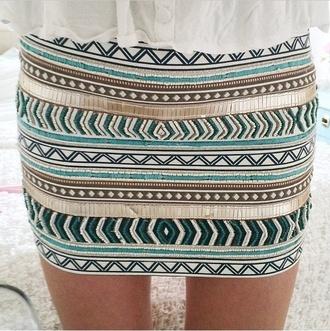 skirt aztec aztec print skirt blue skirt white skirt
