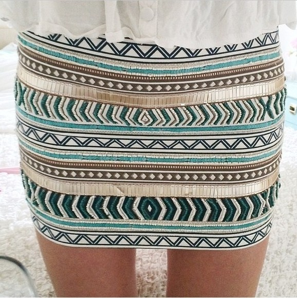 skirt aztec blue skirt aztec print skirt white skirts