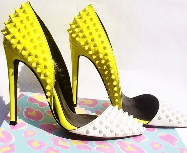 shoes yellow and white yellow and white high heels yellow and white pumps yellow white high heels pumps