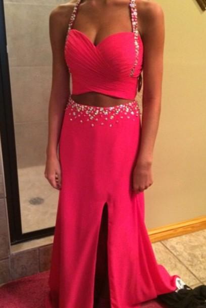 dress prom pink rhinestones two-piece