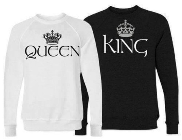 sweater black hoodies king and queen hoodie wheretoget. Black Bedroom Furniture Sets. Home Design Ideas