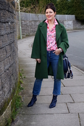 rachelthehat,blogger,jeans,socks,shoes,bag,green coat,pink shirt,boots,winter outfits