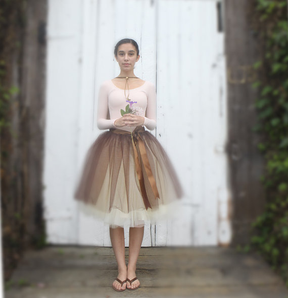 Brown and ivory tulle skirt for women. by tutuschicboutique